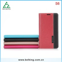 Crossing Pattern Wallet Leather Case For Samsung S6, For Samsung S6 Wallet Case, For Galaxy S6 PU Case