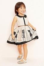 baby girls summer dress print cat cute peter fan collar dress for children 100-140cm girls summer dress