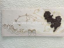 Customized luxury diamond with ribbon gold stamping wedding invitation card&wedding card --ZH058
