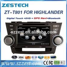 ZESTECH china car parts dvd navigation multimedia am fm mp3 player Car Audio Navigation system for toyota highlander