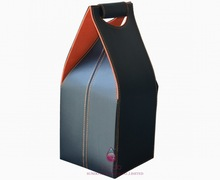customize 4 bottle leather wine carrier in black