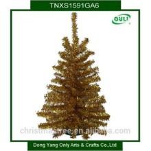 2015 New Fashion Design Hot Selling Golden Mini Tinsel Xmas Tree