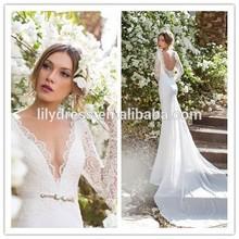 New Crocheted Zipper Crystal And Pearl Beaded Fashion V Neck 2015 Patterns MM-3224 Elegant Sexy Mermaid Wedding Dress