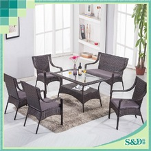 S&D Dining Room Patio Restaurant Hotel Glass Top Rattan Dining Round Table and Chairs
