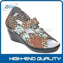 stylish open toe lady handmake wedge woven elastic shoes, leisure high-heeled shoes,