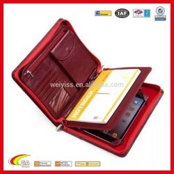 Red portfolio case ladies' leather portfolio for Ipad with phone bag