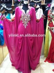 Real Sample Arabic Dubai Abaya Evening Dress Beaded V Neck Chiffon Formal Dubai Kaftan Evening Dresses Free Shipping