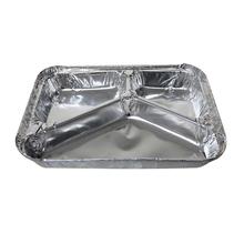 three compartmental aluminum foil container factory foil tray aluminum foil tray 3 cavity disposable aluminum food tray
