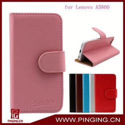 crystal grain wallet case with card slots leather back cover for Lenovo A5800
