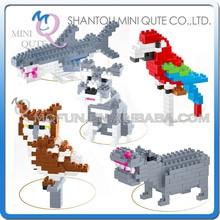 Mini Qute Lele Brother 5 styles kawaii kids Animal Parrot bird nano plastic building blocks bricks cartoon model educational toy