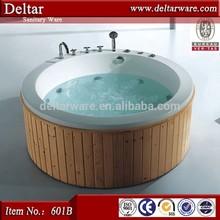 Freestanding Installation Type and Reversible Drain Location wooden bathtub