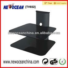 2 layer glass shelf tv wall mount with dvd bracket