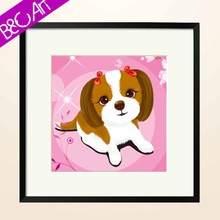 Custom cute dog wall art for kids room oil panting