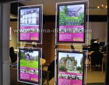 hanging led acrylic wall and window poster display