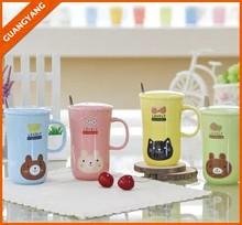 cute animal head ceramic breakfast cup, glazed stoneware mug