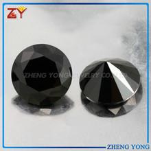 Black round fancy cut loose gems/Black CZ stones