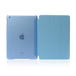 New arrival PC matte base PU leather cover for ipad air case with sleep/wake function Blue