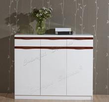 Modern Wooden High Gloss Tall Shoe Cabinet Closed Shoe Rack