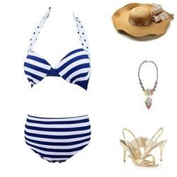 2015 new arrival high quality navy striped bikinis