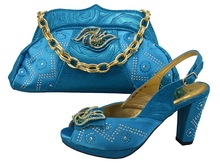 African ladies Matching shoes and bag for wedding and party SB1501 turkey blue