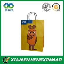 Cute design customized yellow shopping bag