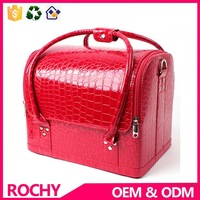 Portable PU Cosmetic Case Red Colour