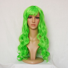 Party festival cheap sexy women green synthetic long curly costume ball wigs MCW-0097