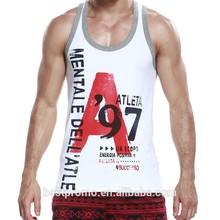 100% cotton custom print men's singet tops small MOQ high quality
