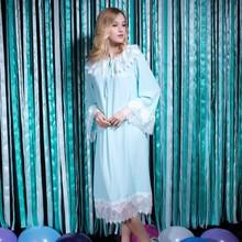 Yigelila 6938 Latest nueva primavera mujeres lindo de la llamarada de la manga de encaje azul vestido largo