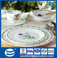 a floral design, scalloped edge, and gold rim composed Set of 6 marked porcelain dessert/salad plates