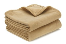 Super soft Camel two side brushed Queen durability polar fleece blanket