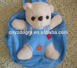 backpack travel bag/ soft stuffed 25cm bear animal plush backpack
