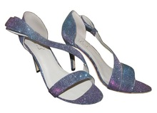 Low Price Leather Shoes Small MOQ Custom Made Colorful Sequin Women Heels Shoes