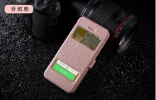 Silk Pattern Leather Case For iphone 6 With Smart View Function