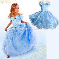 Girls Halloween Cinderella Costume Light Blue Crystal Lace Party Dress