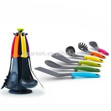 PSC3001 Kitchen Utensils 6pcs colorful TPR handle nylon cooking kitchen tools