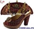 Vinho csb566 2015 venda quente superior moda estilo italiano sapatos e bolsa, alta qulity alta calcanhar sapatos de mulheres com saco de jogo