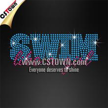 Swim Like a Girl Beautiful Letters Crystal Appliques Rhinestone Trim Wholesale