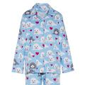 Las mujeres 2015 100% de franela de algodón de manga larga pijama conjunto el último sello impreso pijama