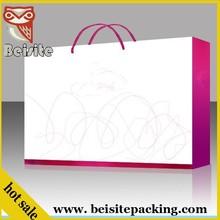 luxury square bottom pink paper shopping bag