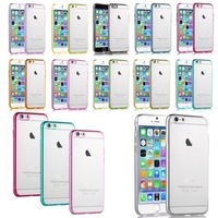 Clear Hard Back Silicone TPU Bumper Case For Apple iPhone 6