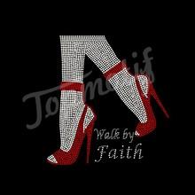 Fashion Walk by Faith in red high heels custom Hot Fix design