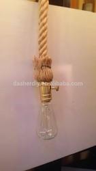Guzhen light E26 copper/brass pendant light with hemp rope