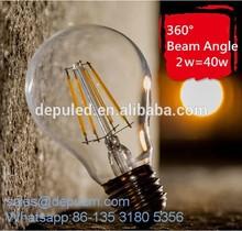 Zhongshan China led residential led bulb glass E27 2w 4w 6w led filament bulb lamp