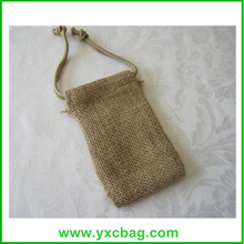 Natural Burlap Jute Gift Bag with Elastic Drawstring