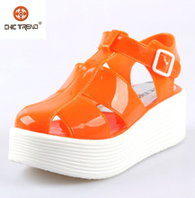 2015 new products free samples pvc strap jelly sandals elegant plastic lady shoe thick wedge heels melissa shoe