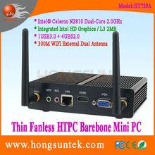 HT720A Intel Celeron N2810 Quad Core 2Ghz CPU Fanless Barebone Mini PC, USB2.0, USB3.0, WiFi, VGA
