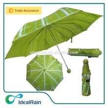 Pongee material aluminum frame 3 fold corporate giveaways umbrella