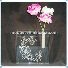 Artificial Rose Flower Pattern Flat Vase For Business Promotion