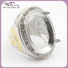 Wholesale stainless steel fashion ring for loose gemstone big stone ring
